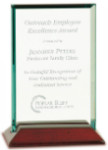 Jade Rectangle Glass with Rosewood Piano Finish Base Sales Awards